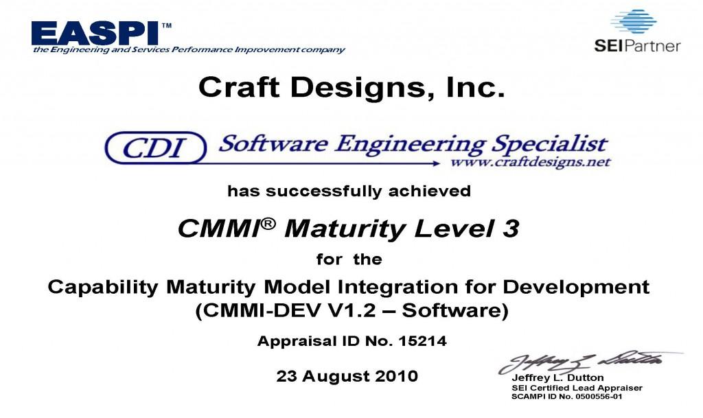 CDI CMMI-DEV 1.2 ML3 Certificate 2010
