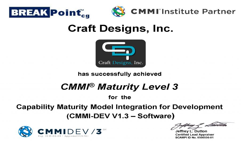 CDI CMMI-DEV 1.3 ML3 Certificate 2016